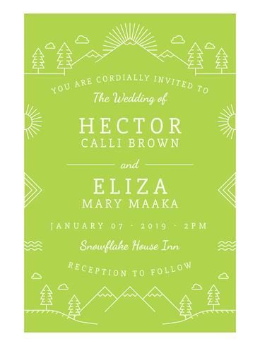 Unieke bruiloft uitnodiging kaart Vector