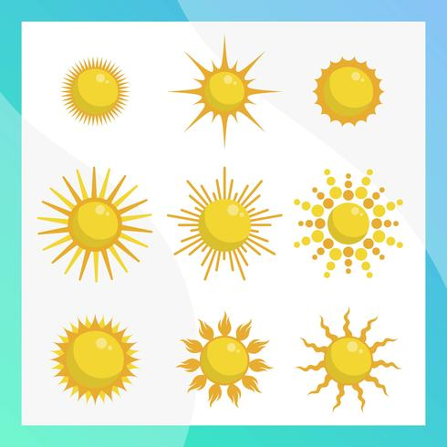Flat Sun Clipart Vector Collection