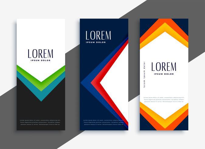 conjunto de banners coloridos geométricos abstractos