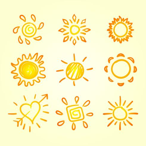 conjunto de imágenes prediseñadas de sol vector