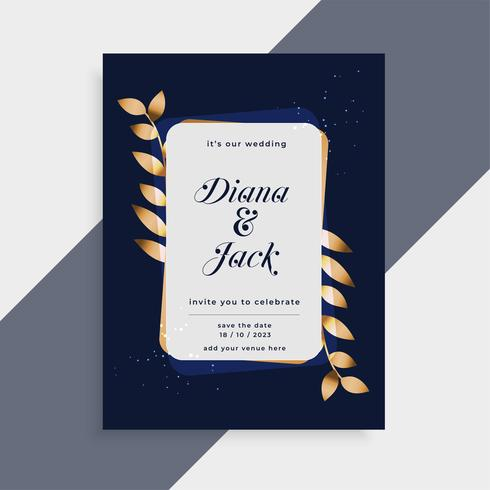 wedding invitation card with golden leaves frame