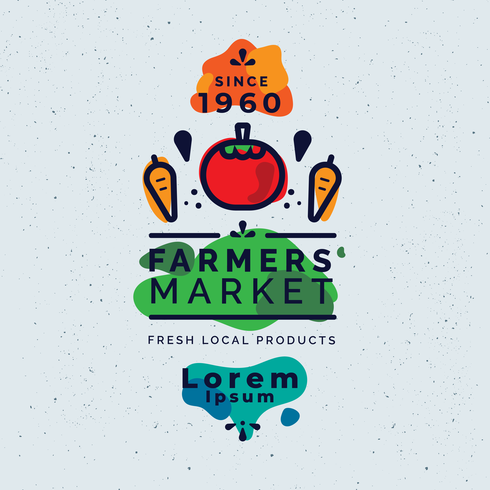 Vector de mercado de agricultores volante