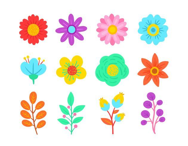 Conjunto De Elemento Floral De Primavera