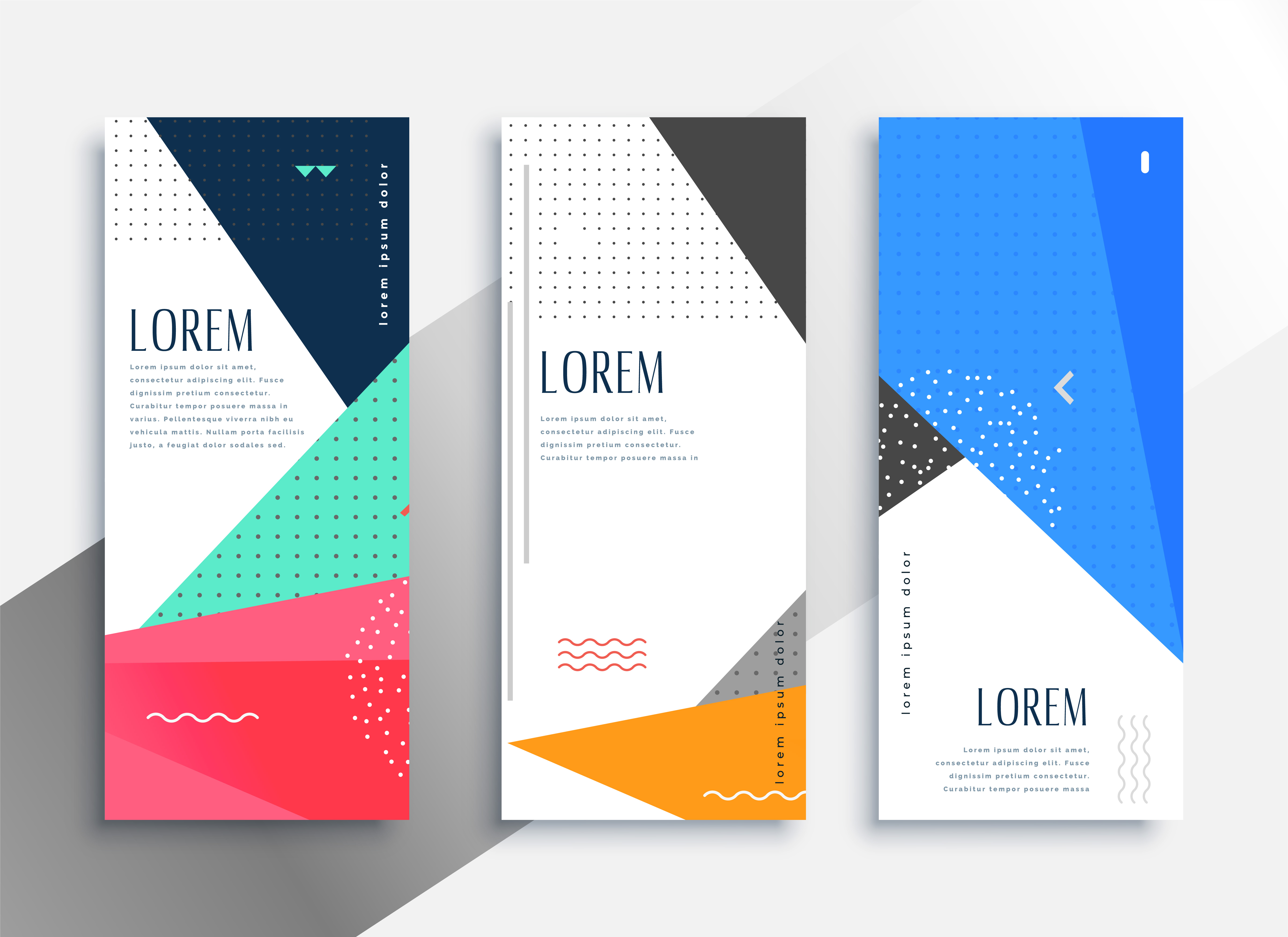 Memphis Style Vertical Banners Set Download Free Vector