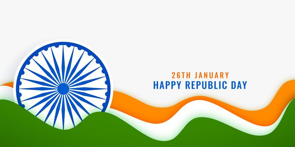 Bandera de bandera república India día elegante con estilo
