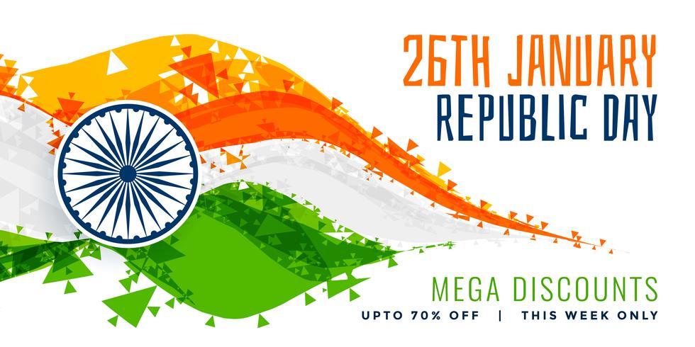Diseño de bandera India estilo abstracto para el día de la República