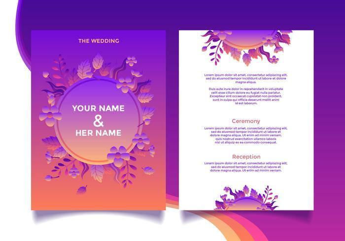 Vector de maqueta de tarjeta de invitación de boda floral