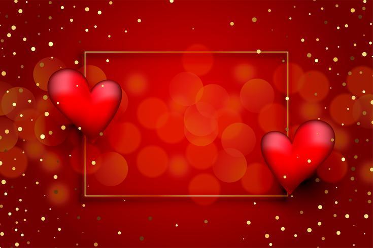 Bellissimo Sfondo Rosso Amore Con Cuori E Glitter Dorati Scarica