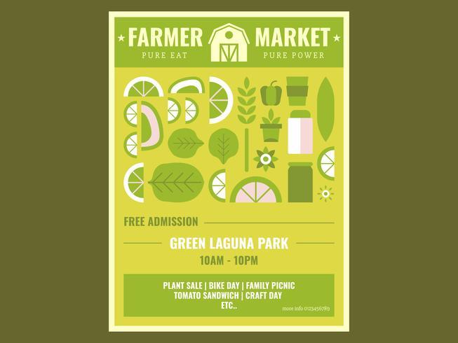 Schattig Flyer ontwerp boeren markt Vector
