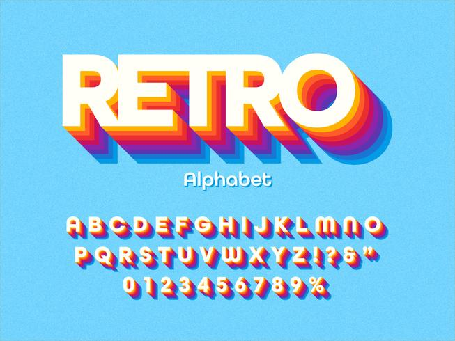 Alfabeto retro colorido negrita