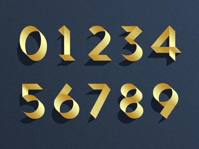 Conjunto de vectores de números de cinta de oro