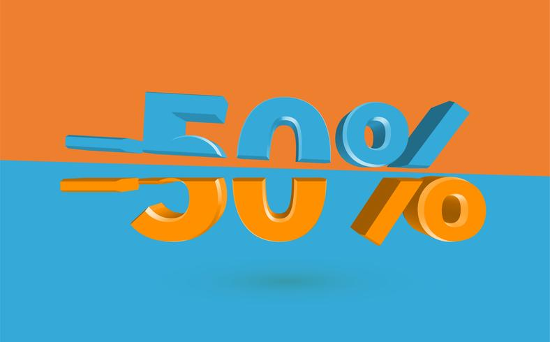3D sale illustration with cut percentage, vector