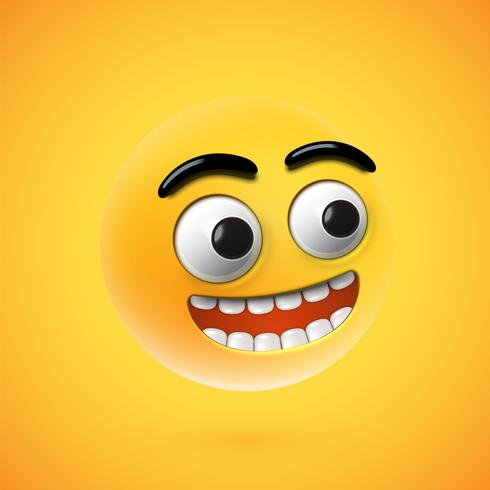 Highly detailed happy emoticon, vector illustration