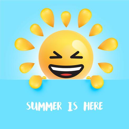 """Engraçado sol-smiley com o título """"o verão está aqui"""""""