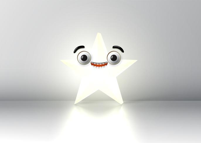 Hoog gedetailleerde smiley ster, vector illustratie