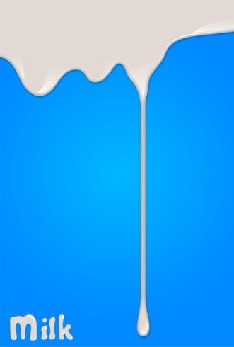 A gota realística do leite, espirra, líquido isolado no fundo azul. ilustração vetorial