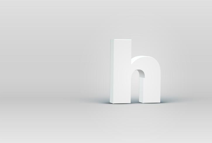 Alto carácter de fuente 3D detallado, ilustración vectorial