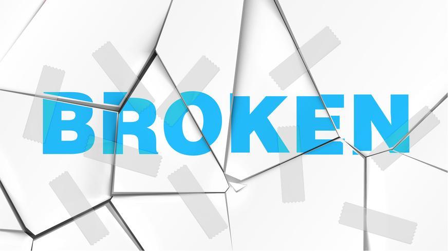 Word of 'BROKEN' on a broken white surface, vector illustration