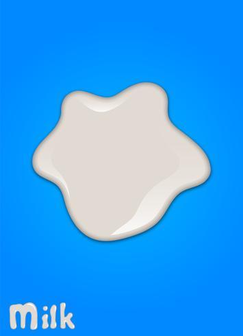 Realistischer Milchtropfen, spritzt, Flüssigkeit lokalisiert auf blauem Hintergrund. Vektor-Illustration