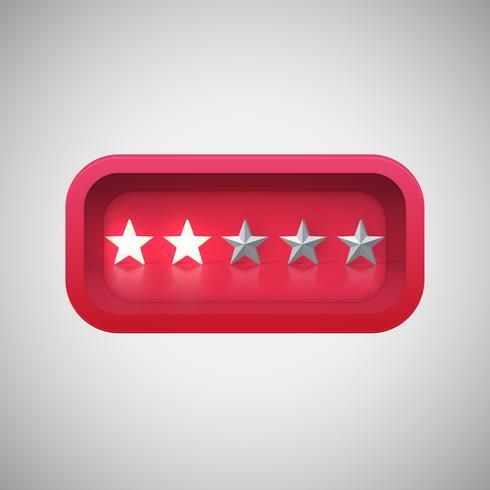 Calificación de una estrella roja brillante en una caja brillante realista, ilustración vectorial