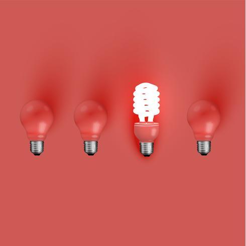 Bombilla de ahorro de energía entre los viejos, ilustración vectorial