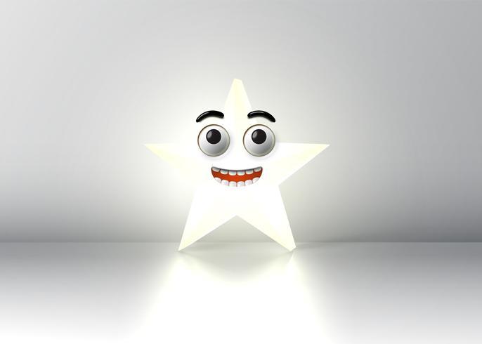 Alta estrella sonriente detallada, ilustración vectorial