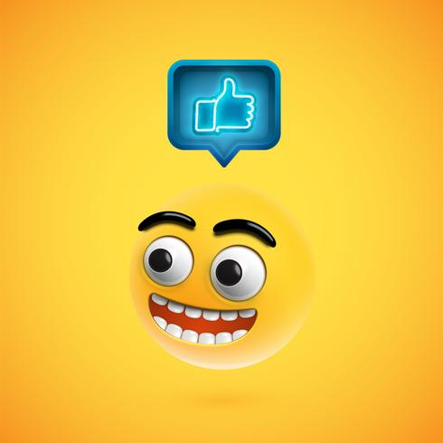 High detailed smiley with thumbs up sign, vector illustration