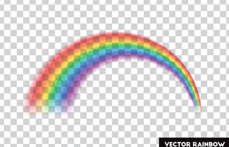 Arcoiris transparente Ilustracion vectorial Arco iris realista sobre fondo transparente.