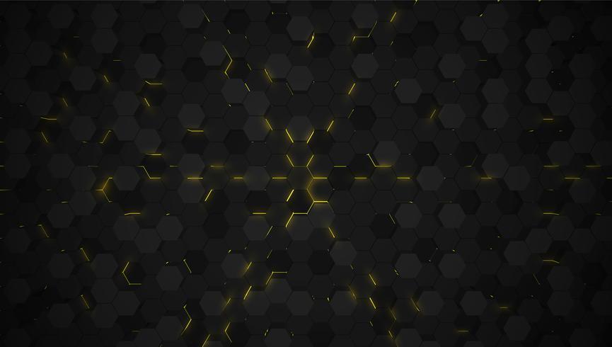 Fundo de tecnologia de hexágono 3D amarelo, ilustração vetorial