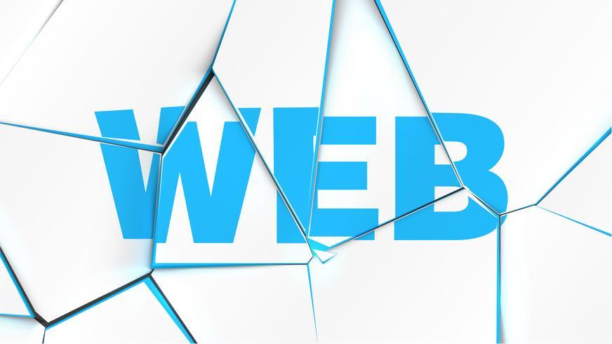 Palabra de 'WEB' en una superficie blanca rota, ilustración vectorial