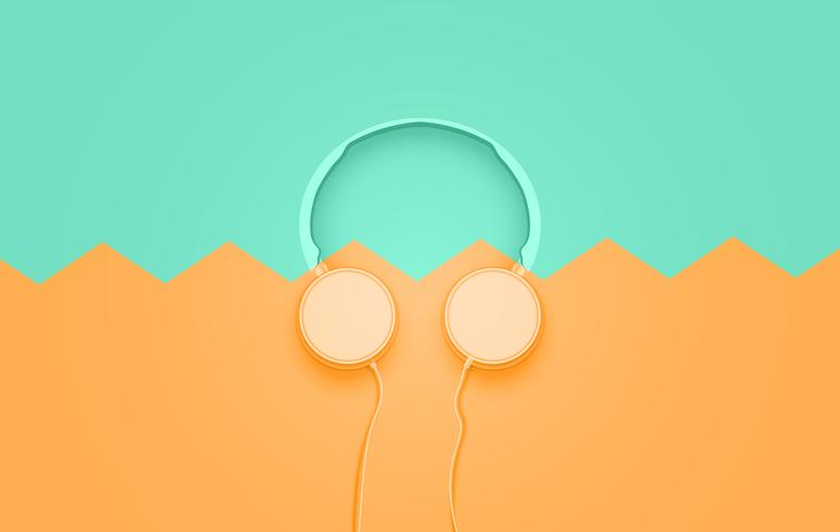 Realistic 3D divided pastel coloured headphones with wires vector