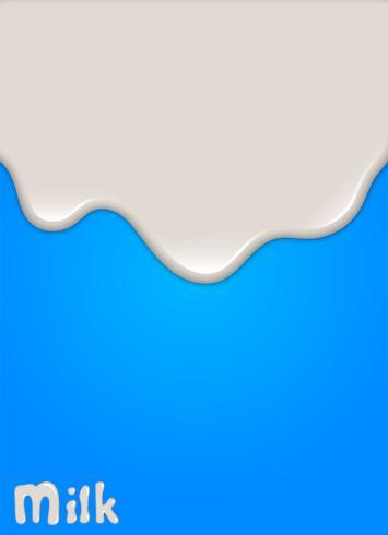 Realistisk mjölkfall, stänk, flytande isolerad på blå bakgrund. vektor illustration