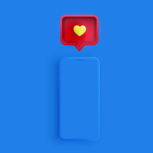 Realistisk mattelefon med 3D hjärta och talbubbla, vektor illustration
