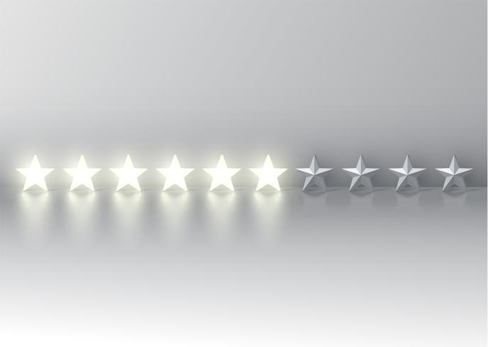 Six-star rating with glowing 3D stars, vector illustration