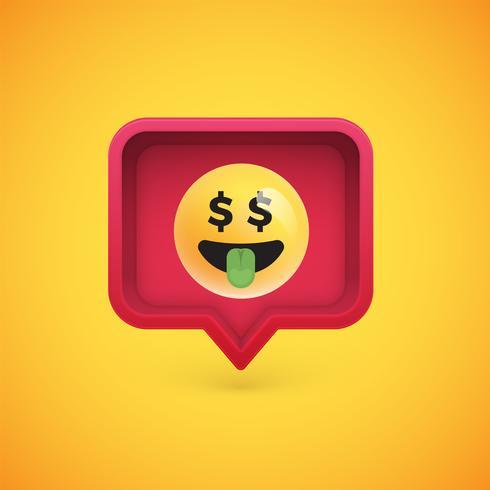 Lustiger 3D Emoticon in der Blase der Sprache 3D, Vektorillustration