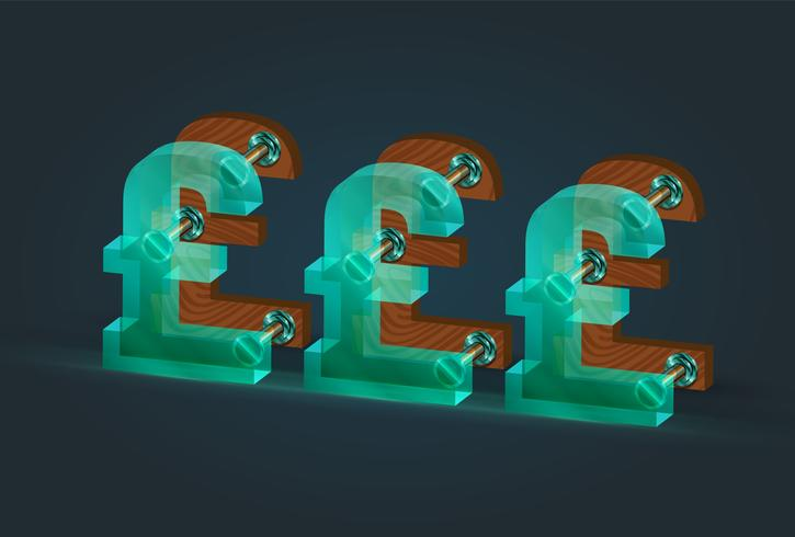 High-detailed wood and glass pound characters, vector illustration