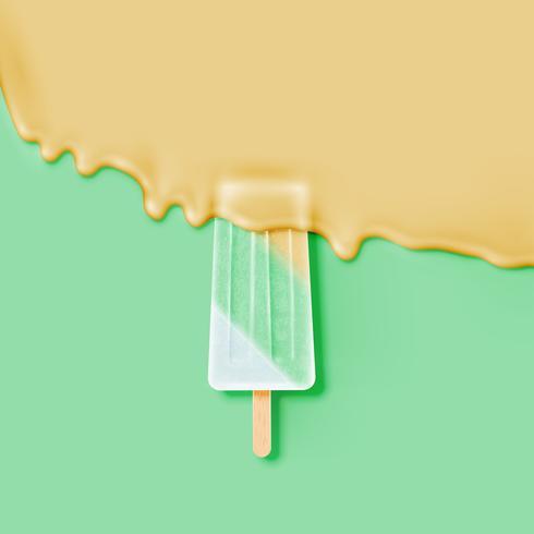 Realistic icecream bar, with melting cream, vector illustration