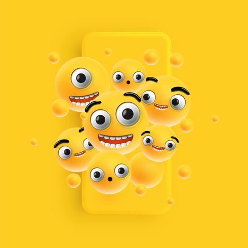 3D e diferentes tipos de emoticons com smartphone fosco