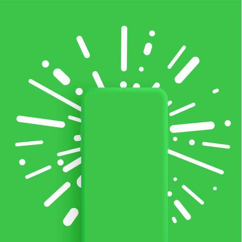 Smartphone fosco realista com fundo colorido, ilustração vetorial vetor