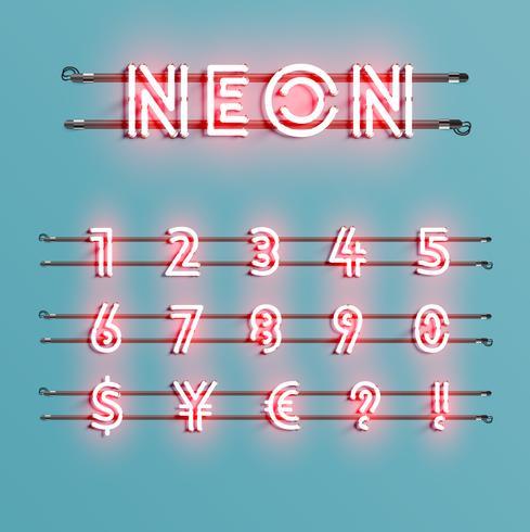 Realistische neondoopvont met draden en console, vectorillustratie