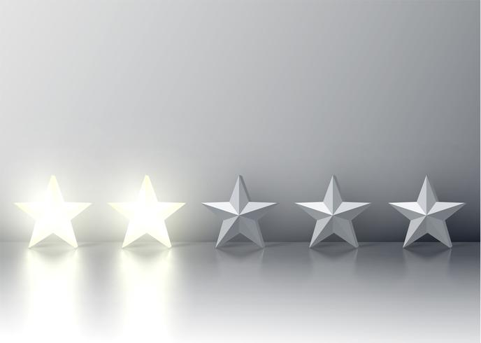 Two-star rating with glowing 3D stars, vector illustration