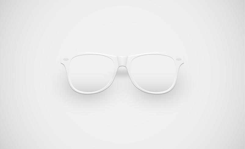 White matte sunglasses for advertisng, vector illustration