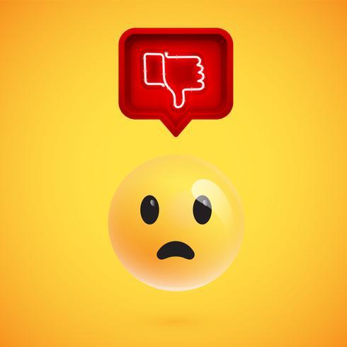 Emoticon 3D realista con letrero de aversión brillante de neón