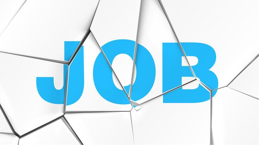 Word of 'JOB' on a broken white surface, vector illustration