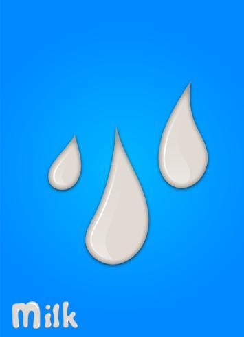 Goccia di latte realistico, spruzzi, liquido isolato su sfondo blu. illustrazione vettoriale