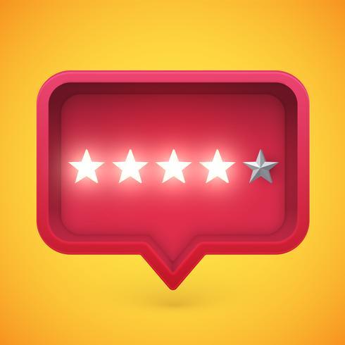 Estrelas de avaliação brilhante na bolha do discurso, ilustração vetorial