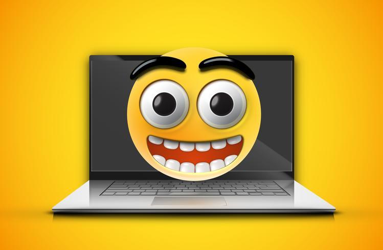 Emoticon de alta detalhado em uma tela de notebook, ilustração vetorial