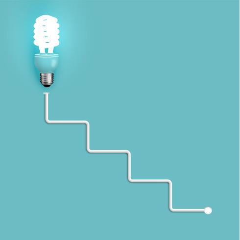 Ampoule à économie d'énergie avec fils, illustration vectorielle