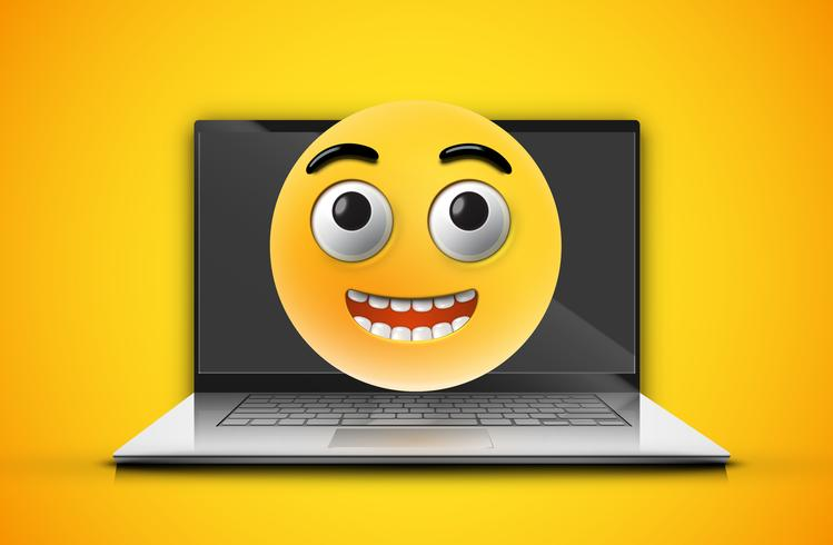 Hoog gedetailleerde emoticon op een laptopscherm