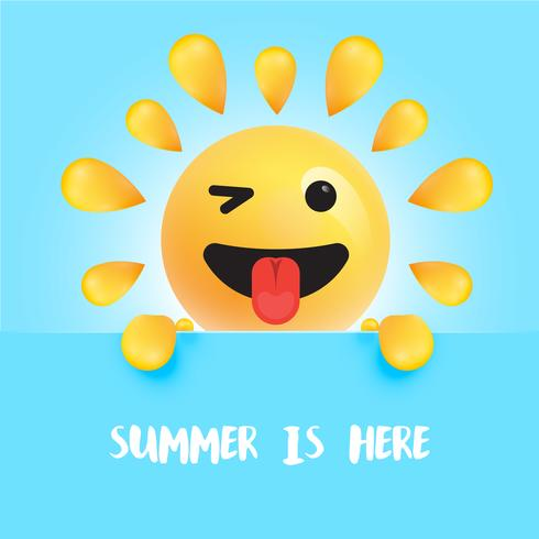 """Funny sun-smiley with the title """"summer is here"""" vector"""